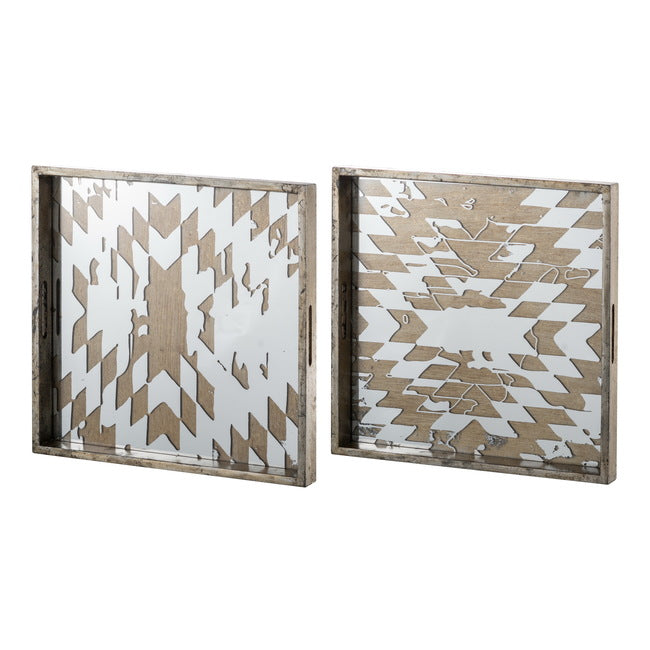 2 Piece Mirrored Square Tray Set