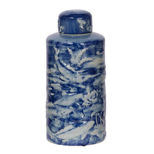 Ceramic Blue and White Lidded Jar, Amur Pond