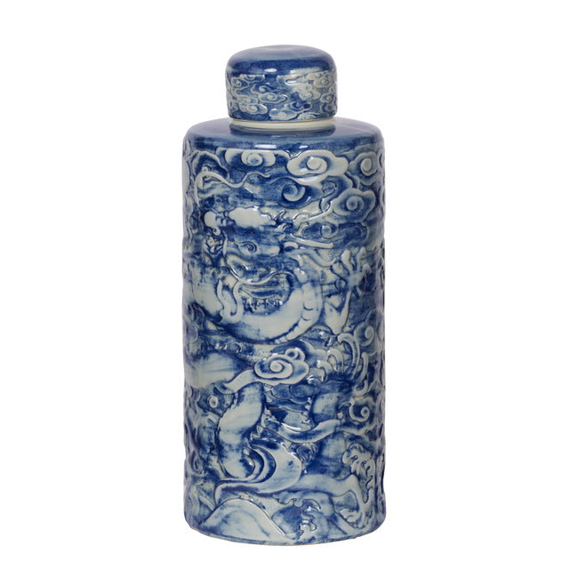Ceramic Blue and White Lidded Jar, Chinese Dargon
