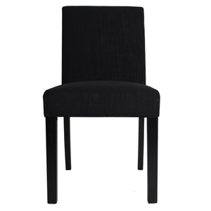 2x Tom Fabric Dining Chairs, Black