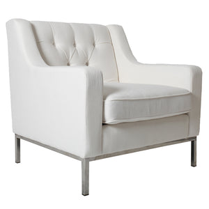 Montgomery Fabric Armchair with Metal Frame, White
