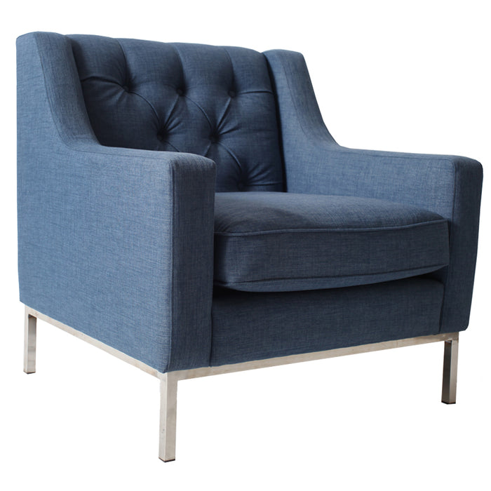 Montgomery Fabric Armchair with Metal Frame, Denim