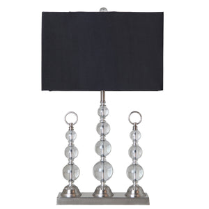 Trio Crystal Table Lamp, Black
