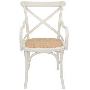 Solid Oak Timber Dining Chair with Rattan Seat, Cream