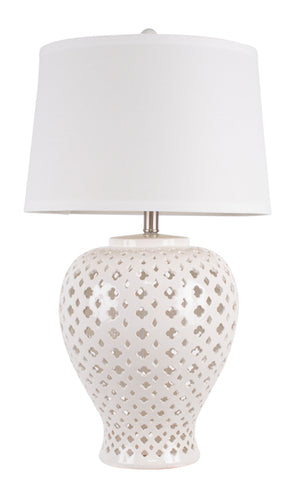 Lattice  Antique Ceramic Table Lamp, White, Tall