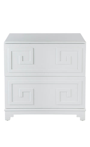 Greek Key Bedside Table - White