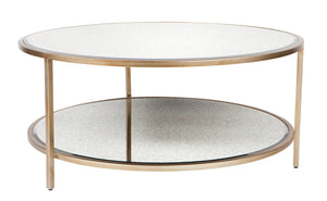 Cocktail Coffee Table - Antique Gold Round