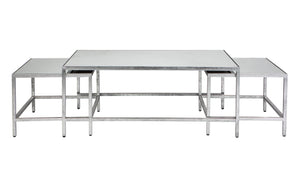 Cocktail Coffee Table - Silver Leaf 3pc