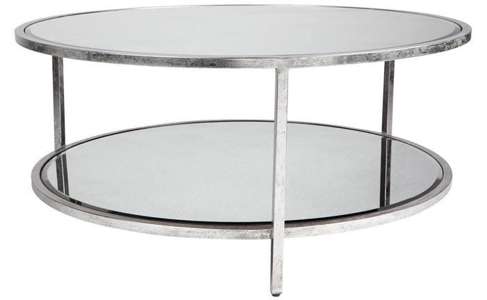 Cocktail Coffee Table - Silver Leaf Round
