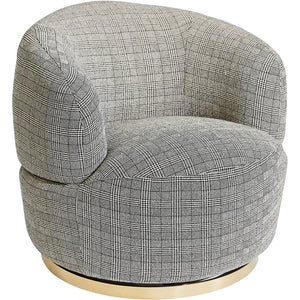 Tubby Swivel Arm Chair - Black Plaid