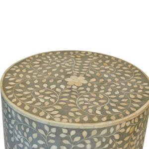 Mia Bone Inlay Side Table - Grey