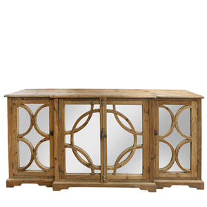 Keats Timber and Mirror Sideboard, 200cm, Natural