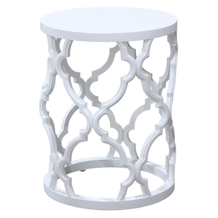 Mustique Round Timber Side Table, White