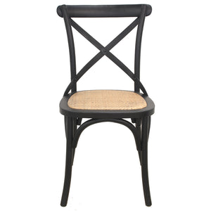 Birch Timber Dining Chair with Rattan Seat, Black