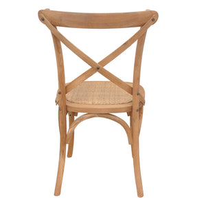 Oak Timber Dining Chair with Rattan Seat, Natural