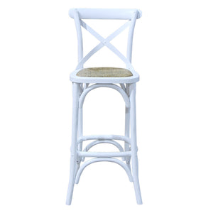 Birch Timber Bar Stool with Rattan Seat, White