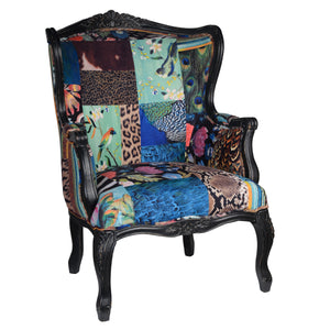 Grace Patterned Velvet Fabric Armchair