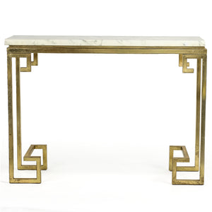 Nefertiti Marble Top Golden Console Table, 117cm
