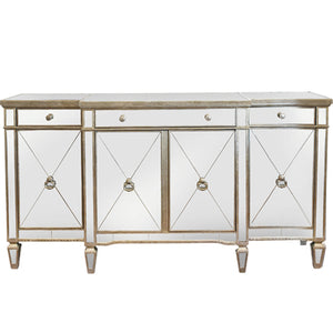 Mirrored Sideboard Antiqued Ribbed, 180cm