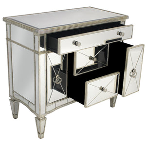 Mirrored Dresser Nightstand Antique Ribbed