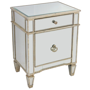 Mirrored Bedside Cabinet Antique 1 Door 1 Drawer