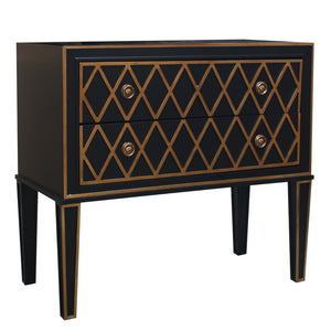 Criss Cross Wooden 2 Drawer Accent Chest, Black