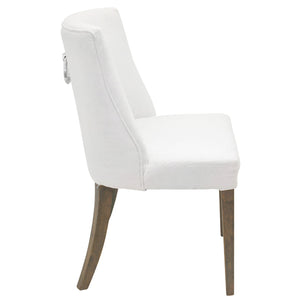 2x Hamlet Linen Upholstered Timber Dining Chair, White