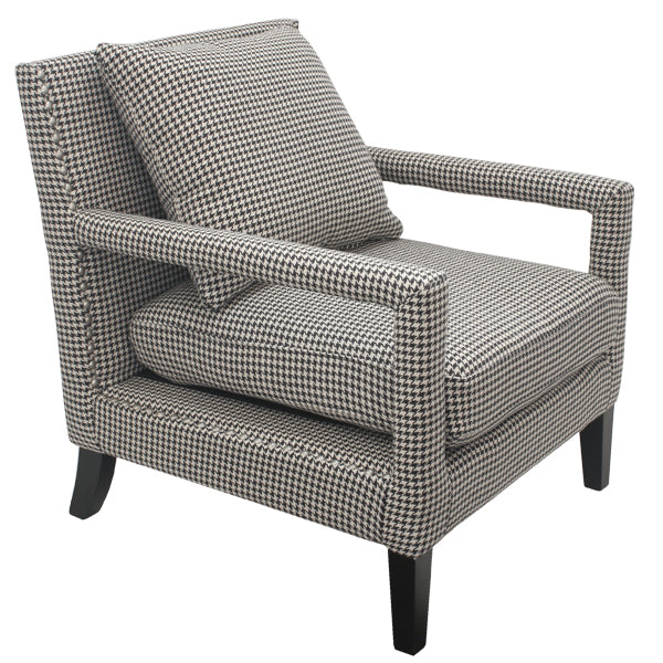 Soho Fabric Upholstered Armchair, Houndstooth Grey