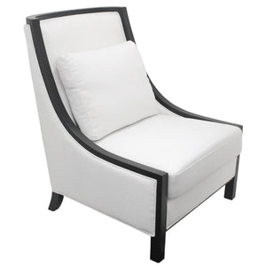 Resort Solid Timber Linen Upholstered Armchair, White
