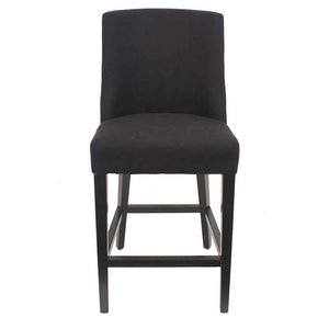 Hamlet Linen Upholstered Timber Barstool, Black