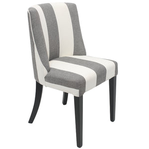 Hamlet Linen Upholstered Timber Dining Chair, Wide Stripe