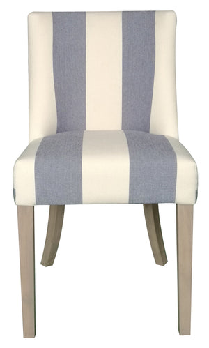 Hamlet Linen Upholstered Timber Dining Chair, Blue & White, Wide Stripe