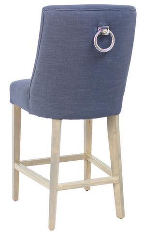 Hamlet Linen Upholstered Timber Barstool, Navy Blue