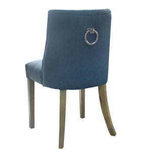 2x Hamlet Linen Upholstered Timber Dining Chair, Blue