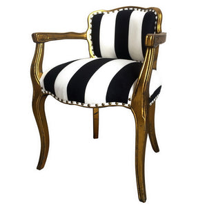 STRIPED WINGED ARM CHAIR