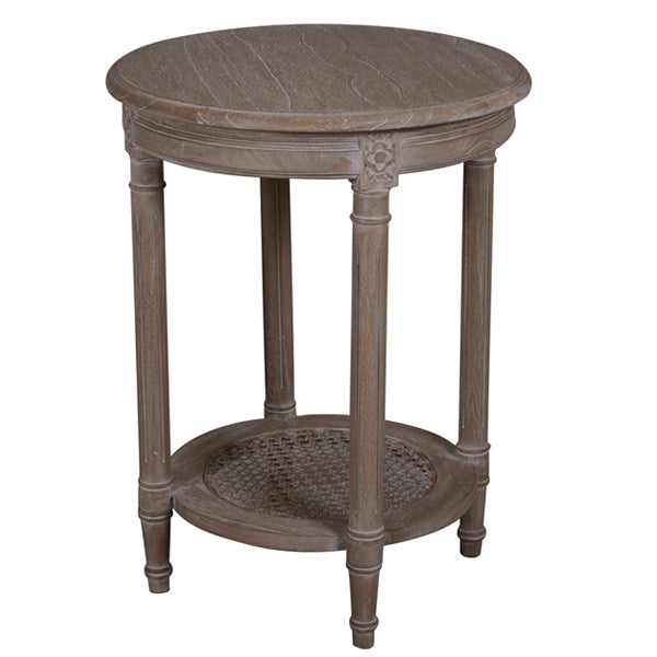 Polo Wooden Round Side Table, Oak Wash