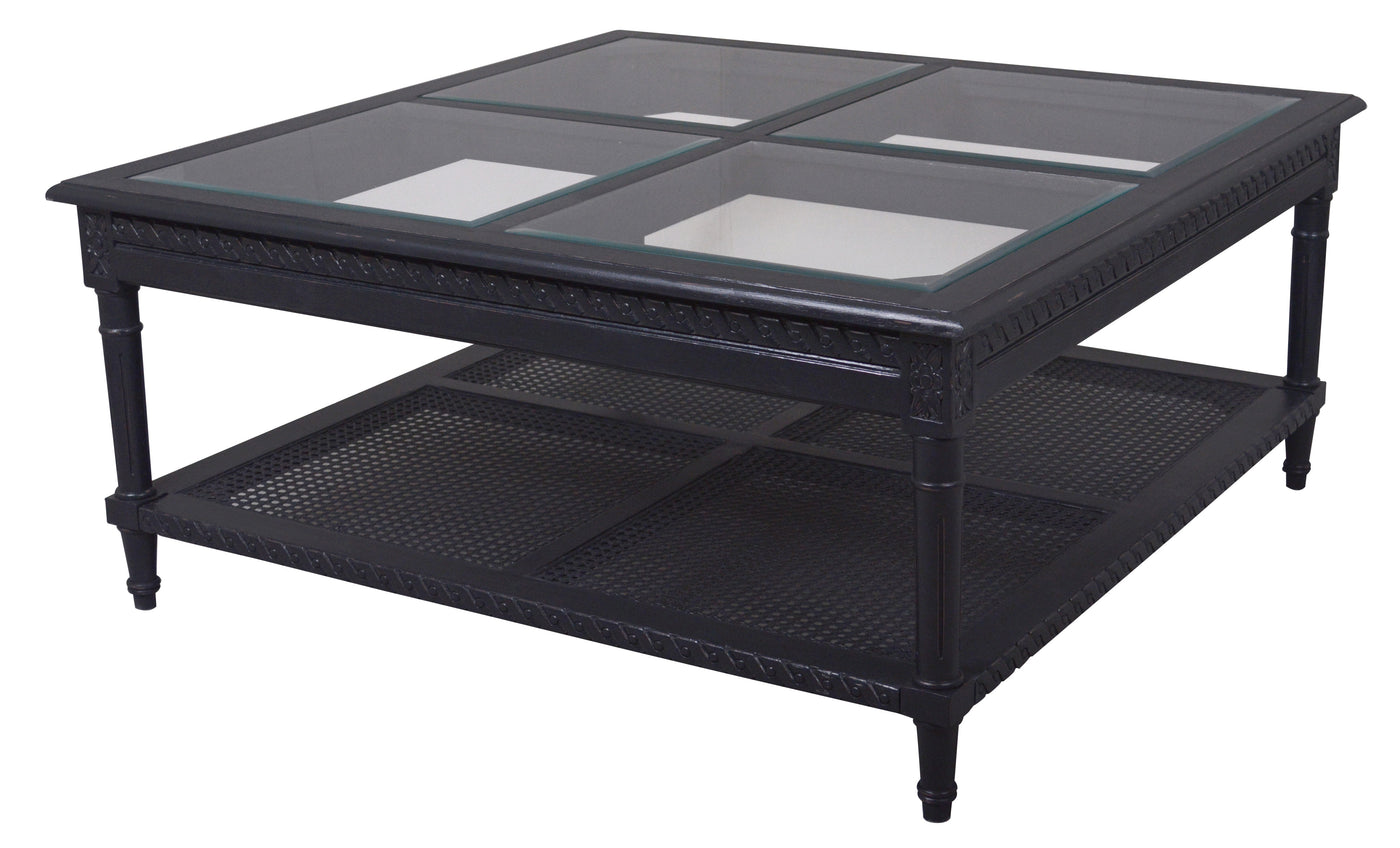 Pleasant Polo Wooden Square Coffee Table Glass Top 110Cm Black Beutiful Home Inspiration Xortanetmahrainfo