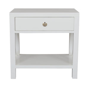 Catalina Bayur Wood Bedside or Side Table, White