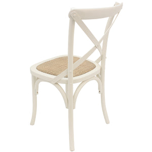 Birch Timber Dining Chair with Rattan Seat, Cream