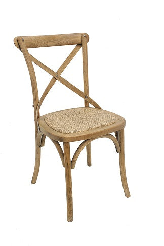 Birch Timber Dining Chair with Rattan Seat, Natural