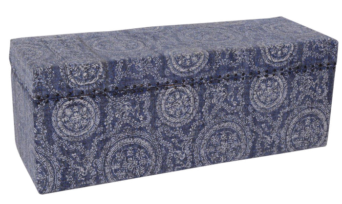 Mango Wood Cotton Covered Storage Trunk,  Faded Indigo