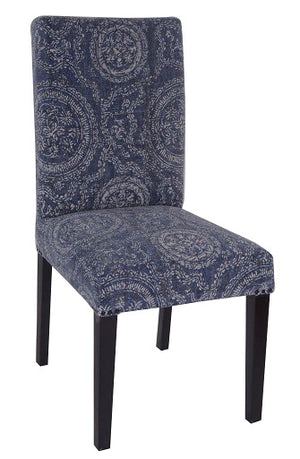 Cotton Fabric Dining  Chair, Faded Indigo Circle Pattern