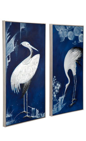 Indigo Crane Wall Art - Set of 2 60 x 120