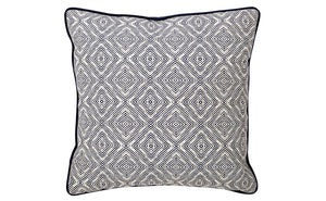 Jewel Cushion - Geometric Navy Feather Fill 55x55