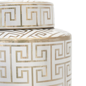 Greek Key Temple Jar - Medium White/Gold
