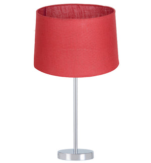 Swish Table Lamp Chrome Base w Red Shade