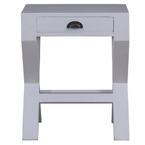 Marseille Mahogany Timber Bedside Table, White