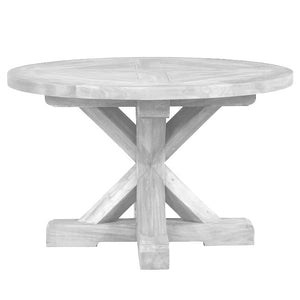 Marseille Mahogany  Timber Round Trestle Round Dining Table, 122cm, Natural