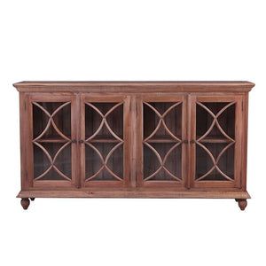 Marseille Mahogany Timber 4 door buffet, 208cm, Natural