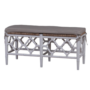 Marseille Mahogany Timber Bench with Woven Rope